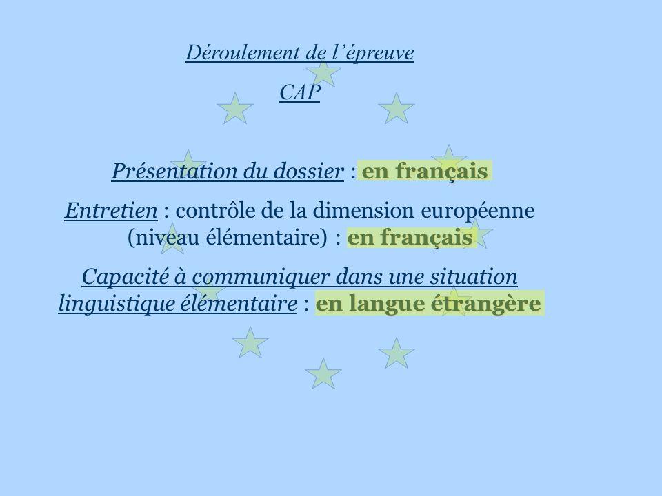 Déroulement de lépreuve CAP en français Présentation du dossier : en français en français Entretien : contrôle de la dimension européenne (niveau élém
