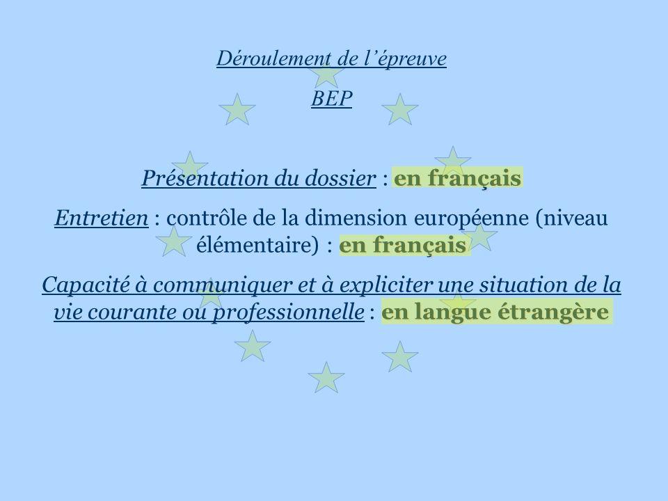 Déroulement de lépreuve BEP en français Présentation du dossier : en français en français Entretien : contrôle de la dimension européenne (niveau élém