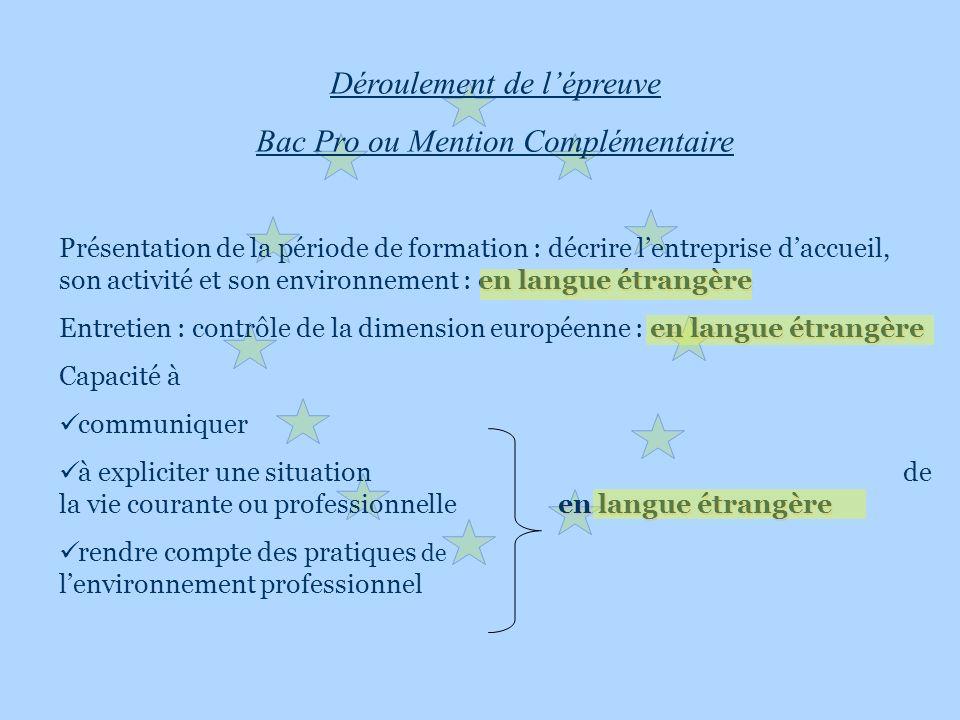 Déroulement de lépreuve Bac Pro ou Mention Complémentaire en langue étrangère Présentation de la période de formation : décrire lentreprise daccueil,