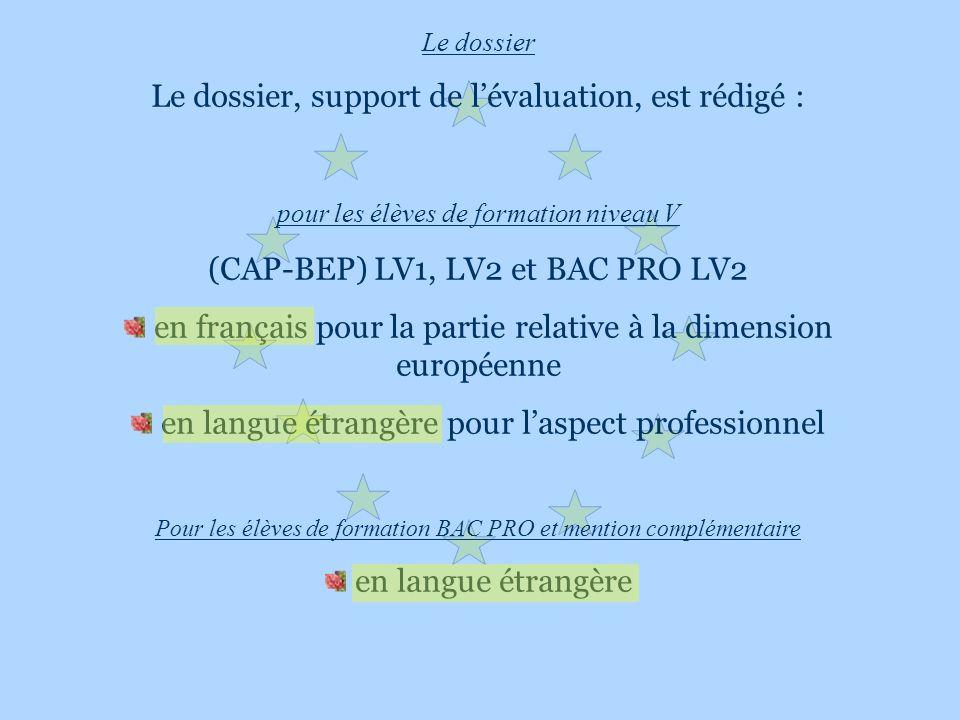 Le dossier Le dossier, support de lévaluation, est rédigé : pour les élèves de formation niveau V (CAP-BEP) LV1, LV2 et BAC PRO LV2 en français pour l