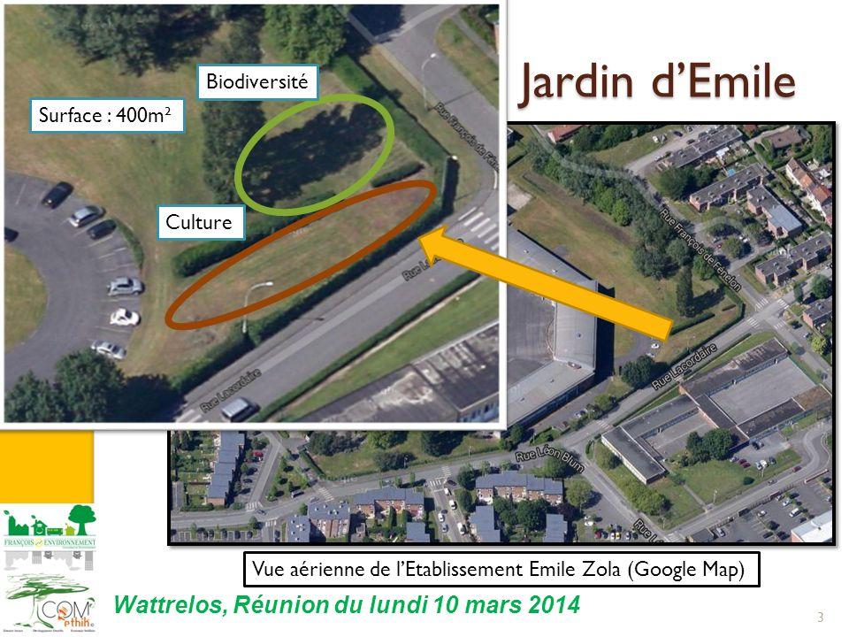 I. Localisation du Jardin dEmile 3 Wattrelos, Réunion du lundi 10 mars 2014 Biodiversité Culture Surface : 400m² Vue aérienne de lEtablissement Emile
