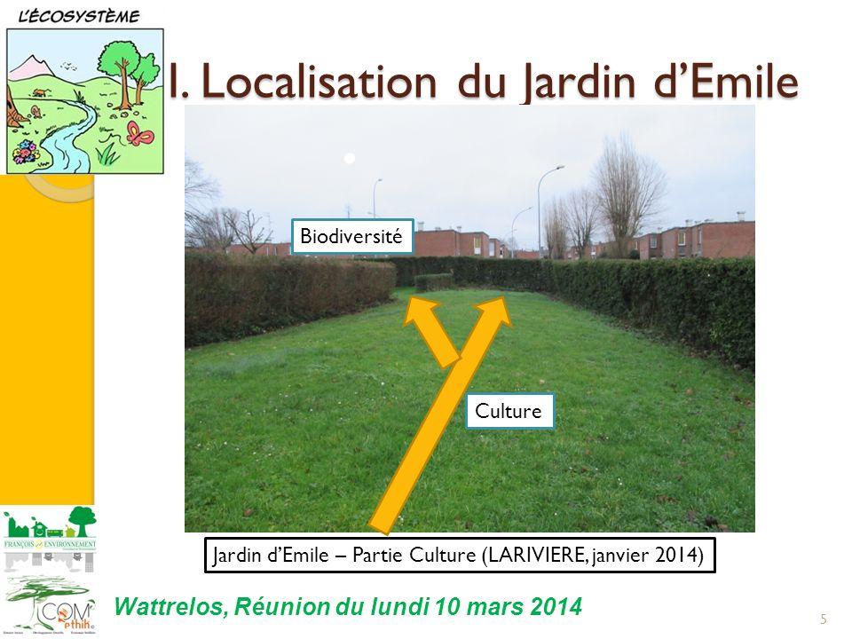 I. Localisation du Jardin dEmile 5 Jardin dEmile – Partie Culture (LARIVIERE, janvier 2014) Biodiversité Culture Wattrelos, Réunion du lundi 10 mars 2