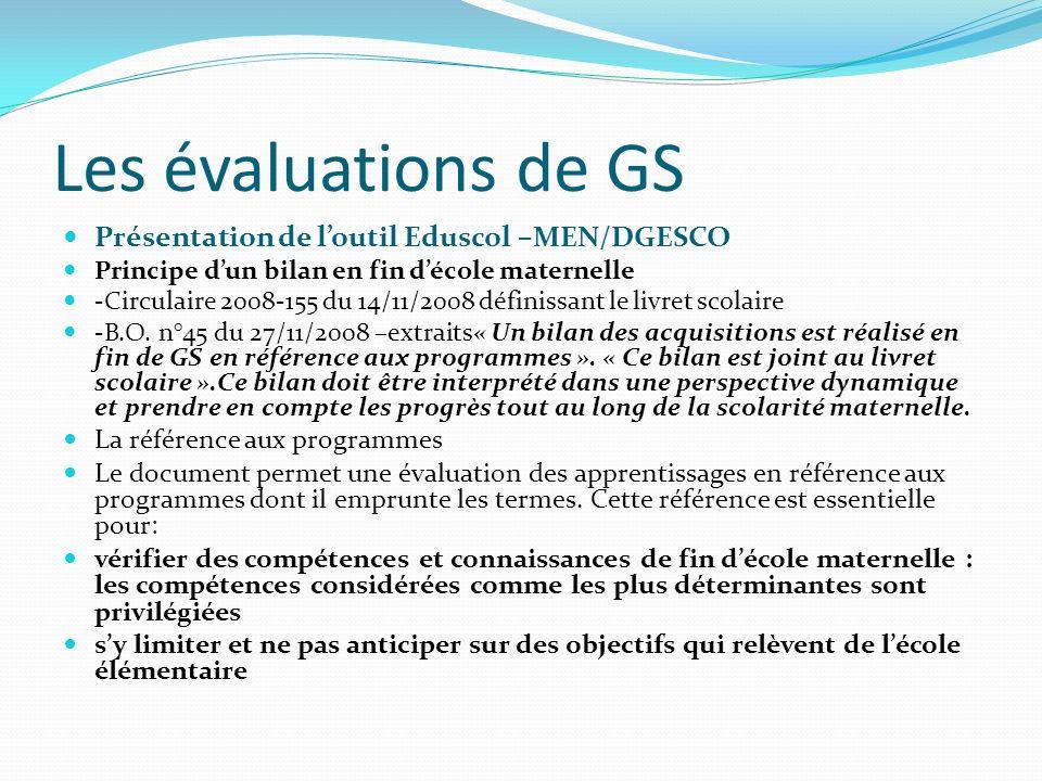 Les évaluations de GS Présentation de loutil Eduscol –MEN/DGESCO Principe dun bilan en fin décole maternelle -Circulaire 2008-155 du 14/11/2008 défini