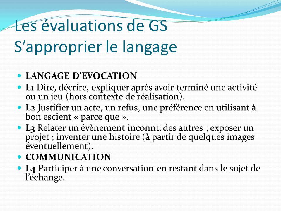 Les évaluations de GS Sapproprier le langage LANGAGE DEVOCATION L1 Dire, décrire, expliquer après avoir terminé une activité ou un jeu (hors contexte