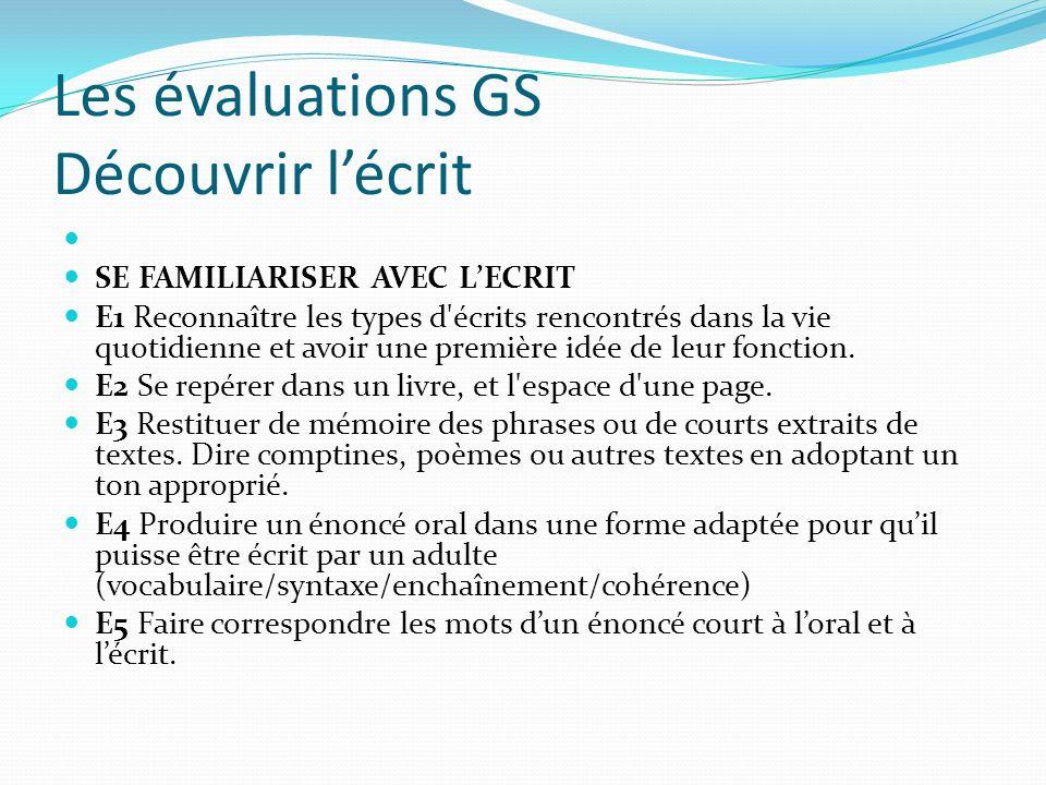 Les évaluations GS Découvrir lécrit SE PREPARER A APPRENDRE A LIRE ET A ECRIRE.
