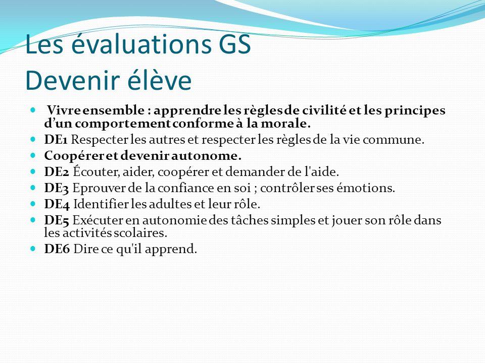 Les évaluations GS Devenir élève Vivre ensemble : apprendre les règles de civilité et les principes dun comportement conforme à la morale. DE1 Respect