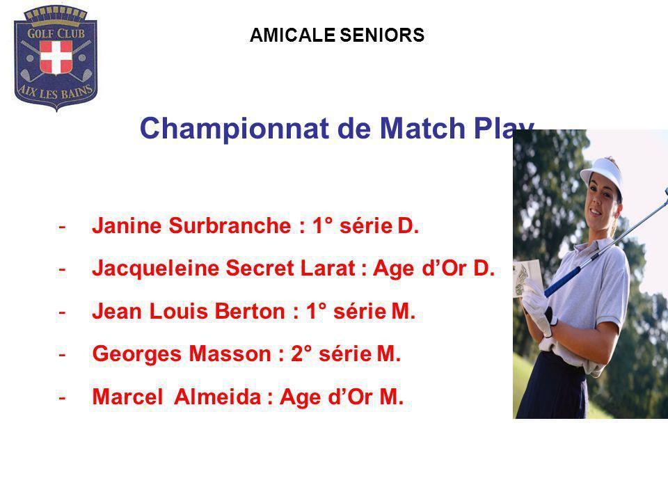 AMICALE SENIORS Championnat de Match Play -Janine Surbranche : 1° série D. -Jacqueleine Secret Larat : Age dOr D. -Jean Louis Berton : 1° série M. -Ge