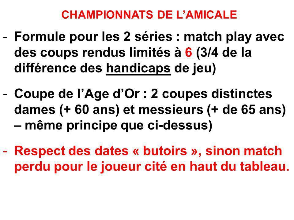 CHAMPIONNATS DE LAMICALE -Formule pour les 2 séries : match play avec des coups rendus limités à 6 (3/4 de la différence des handicaps de jeu) -Coupe