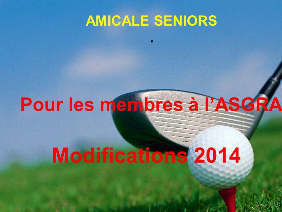 Tarif du Green Fee pour les compétitions ASGRA de 2011 à 2013 : 32 Participation de lASGRA pour la dotation des rencontres amicales : 80 Modifications