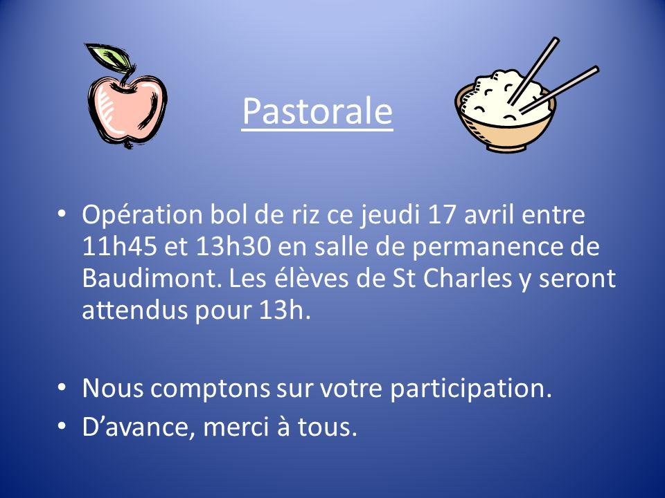 Pastorale Opération bol de riz ce jeudi 17 avril entre 11h45 et 13h30 en salle de permanence de Baudimont.