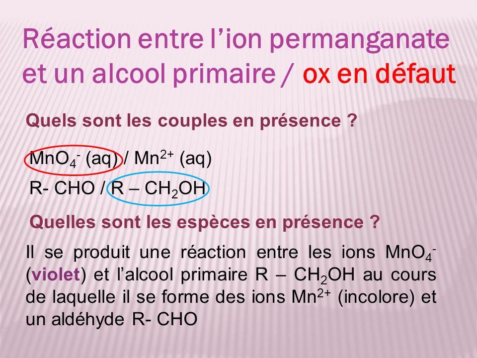 MnO 4 - (aq) / Mn 2+ (aq) Réaction entre lion permanganate et un alcool primaire / ox en défaut R- CHO / R – CH 2 OH Quels sont les couples en présenc