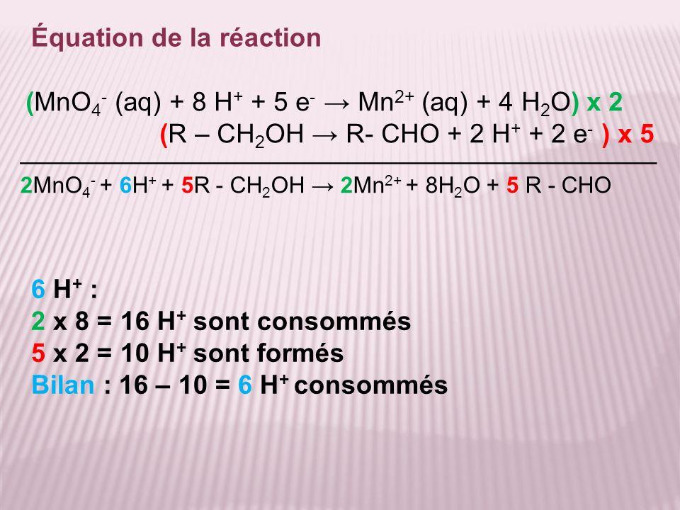 Équation de la réaction 2MnO 4 - + 6H + + 5R - CH 2 OH 2Mn 2+ + 8H 2 O + 5 R - CHO (MnO 4 - (aq) + 8 H + + 5 e - Mn 2+ (aq) + 4 H 2 O) x 2 (R – CH 2 O