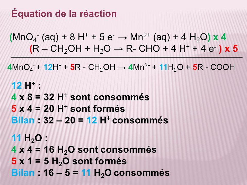 Équation de la réaction 4MnO 4 - + 12H + + 5R - CH 2 OH 4Mn 2+ + 11H 2 O + 5R - COOH (MnO 4 - (aq) + 8 H + + 5 e - Mn 2+ (aq) + 4 H 2 O) x 4 (R – CH 2