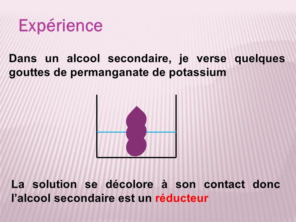 Expérience La solution se décolore à son contact donc lalcool secondaire est un réducteur Dans un alcool secondaire, je verse quelques gouttes de perm