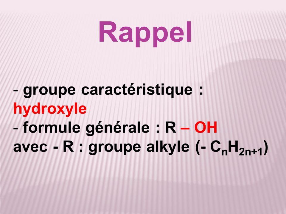 Rappel - groupe caractéristique : hydroxyle - formule générale : R – OH avec - R : groupe alkyle (- C n H 2n+1 )