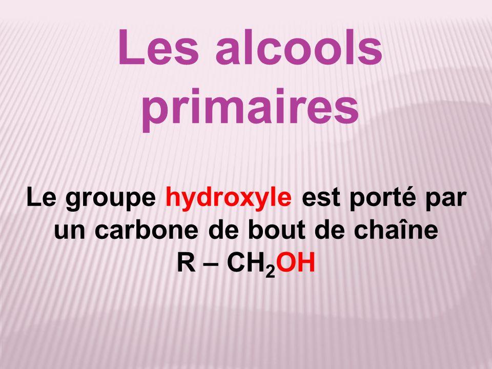 Le groupe hydroxyle est porté par un carbone de milieu de chaîne non substitué R – CHOH – R Les alcools secondaires