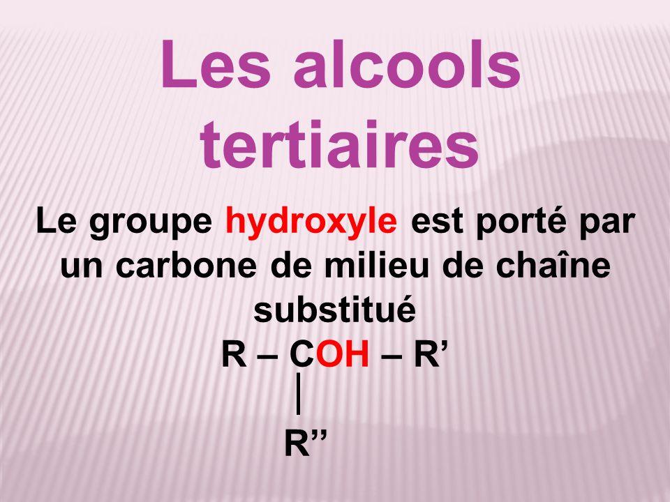 Équation de la réaction 2MnO 4 - + 6H + + 5R –CHOH– R 2Mn 2+ + 8H 2 O + 5R –CO– R (MnO 4 - (aq) + 8 H + + 5 e - Mn 2+ (aq) + 4 H 2 O) x 2 (R – CHOH – R R- CO – R + 2 H + + 2 e - ) x 5 ___________________________________________ 6 H + : 2 x 8 = 16 H + sont consommés 5 x 2 = 10 H + sont formés Bilan : 16 – 10 = 6 H + consommés