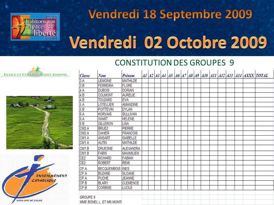 CONSTITUTION DES GROUPES 9