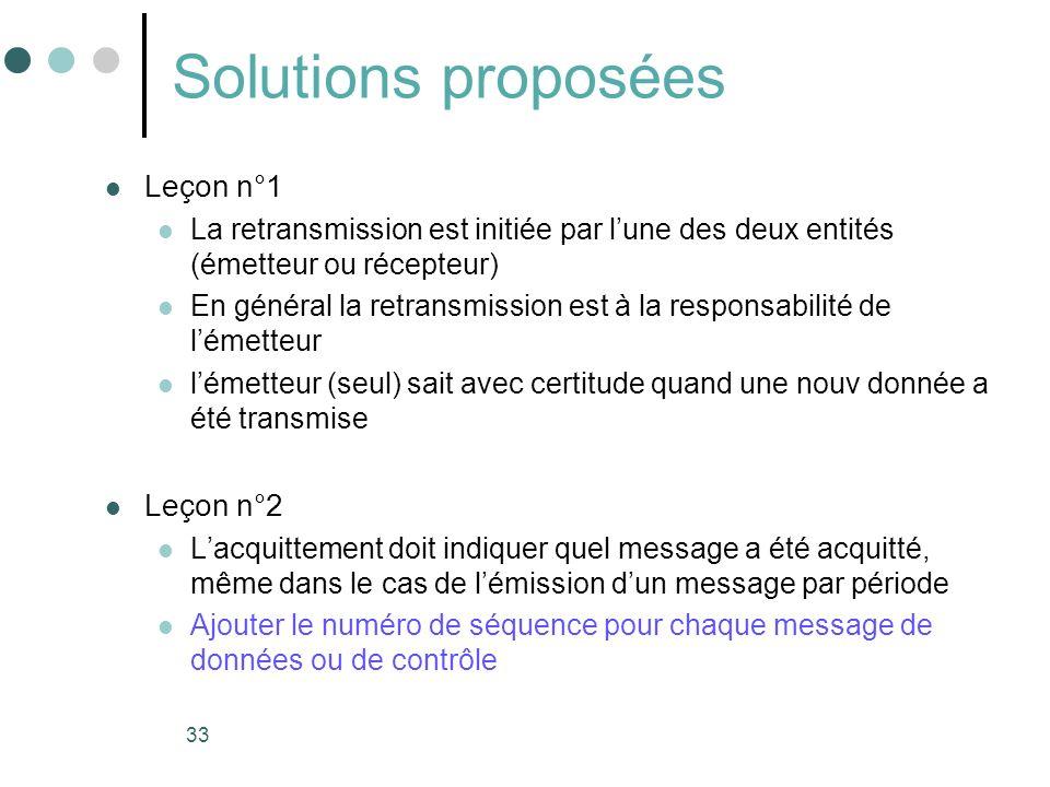 33 Solutions proposées Leçon n°1 La retransmission est initiée par lune des deux entités (émetteur ou récepteur) En général la retransmission est à la
