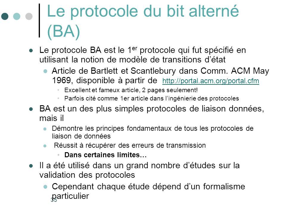 35 Le protocole du bit alterné (BA) Le protocole BA est le 1 er protocole qui fut spécifié en utilisant la notion de modèle de transitions détat Artic