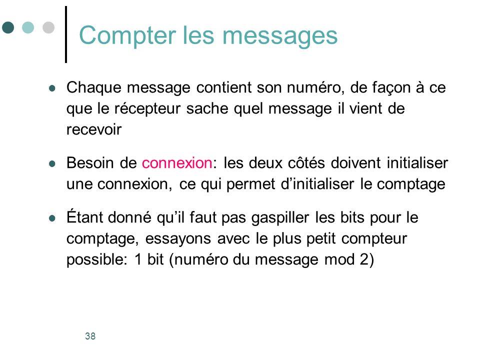 38 Compter les messages Chaque message contient son numéro, de façon à ce que le récepteur sache quel message il vient de recevoir Besoin de connexion