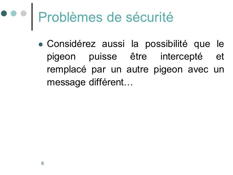 6 Problèmes de sécurité Considérez aussi la possibilité que le pigeon puisse être intercepté et remplacé par un autre pigeon avec un message différent