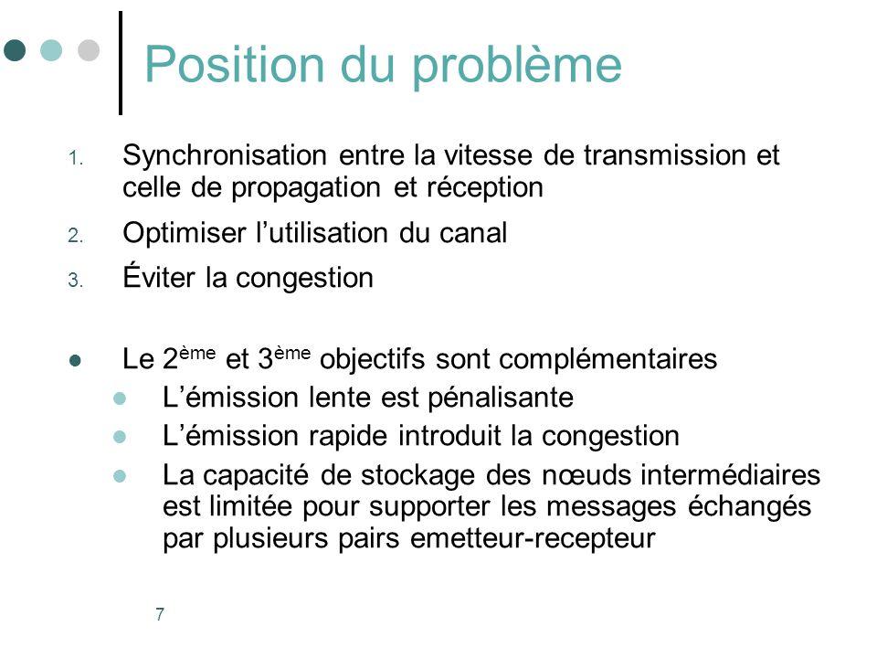 7 Position du problème 1. Synchronisation entre la vitesse de transmission et celle de propagation et réception 2. Optimiser lutilisation du canal 3.