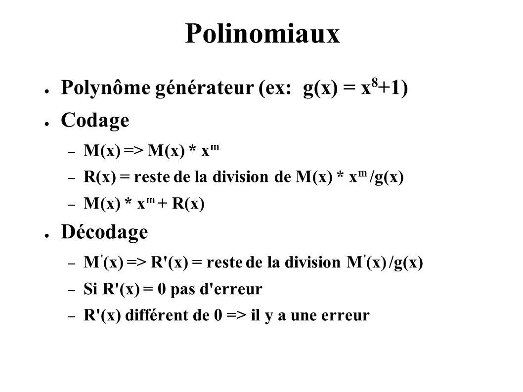 Polinomiaux Polynôme générateur (ex: g(x) = x 8 +1) Codage – M(x) => M(x) * x m – R(x) = reste de la division de M(x) * x m /g(x) – M(x) * x m + R(x)