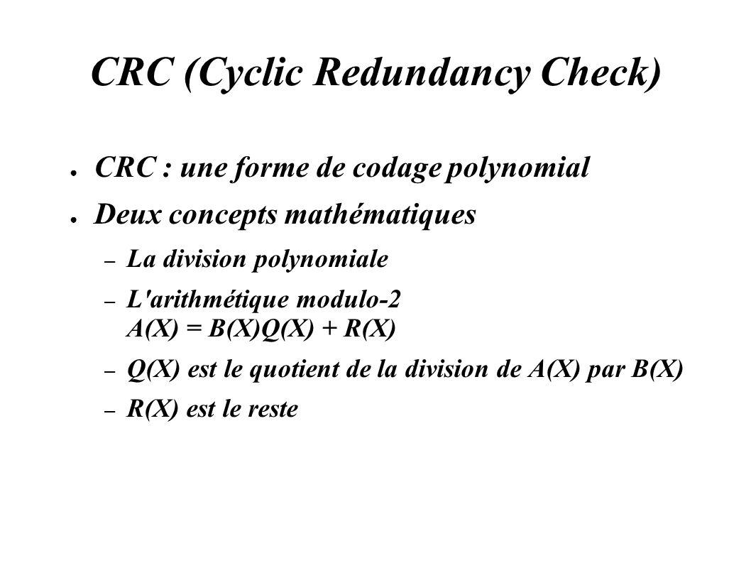 CRC (Cyclic Redundancy Check) CRC : une forme de codage polynomial Deux concepts mathématiques – La division polynomiale – L'arithmétique modulo-2 A(X