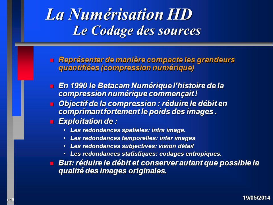 19 F 19/05/2014 La Numérisation HD Le Codage des sources n Représenter de manière compacte les grandeurs quantifiées (compression numérique) n En 1990 le Betacam Numérique lhistoire de la compression numérique commençait .