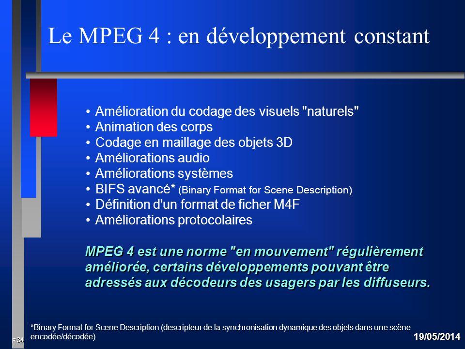 34 F 19/05/2014 Le MPEG 4 : en développement constant Amélioration du codage des visuels naturels Animation des corps Codage en maillage des objets 3D Améliorations audio Améliorations systèmes BIFS avancé* (Binary Format for Scene Description) Définition d un format de ficher M4F Améliorations protocolaires MPEG 4 est une norme en mouvement régulièrement améliorée, certains développements pouvant être adressés aux décodeurs des usagers par les diffuseurs.