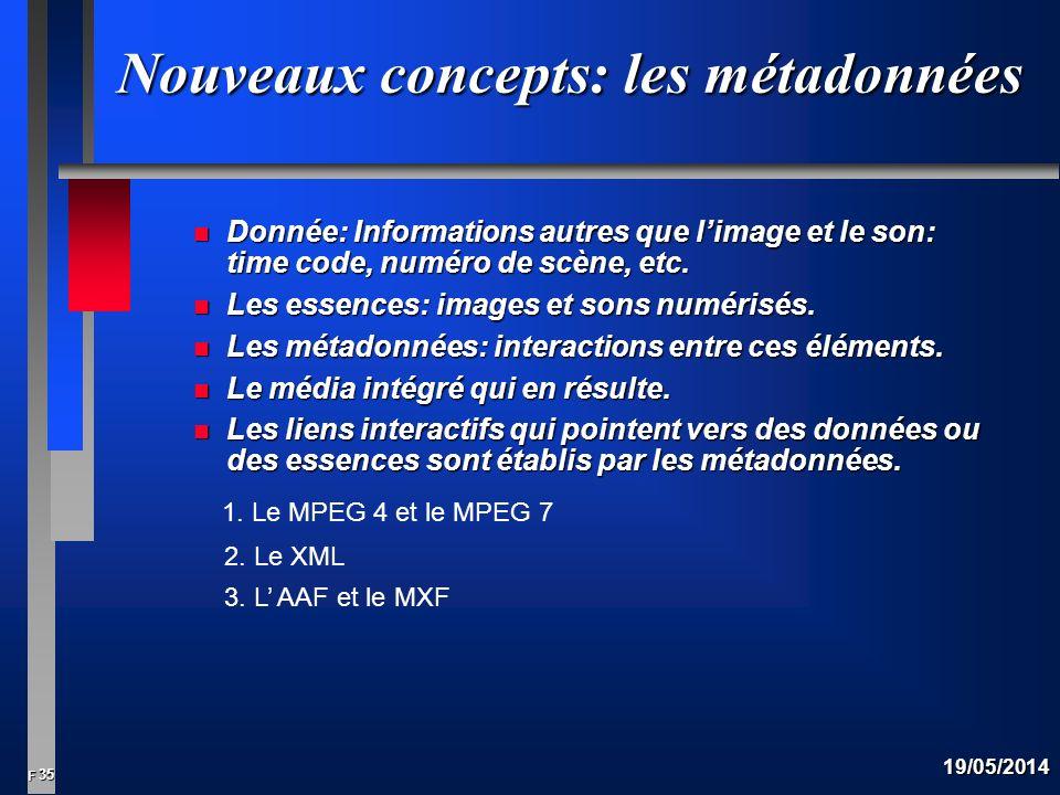 35 F 19/05/2014 Nouveaux concepts: les métadonnées n Donnée: Informations autres que limage et le son: time code, numéro de scène, etc.