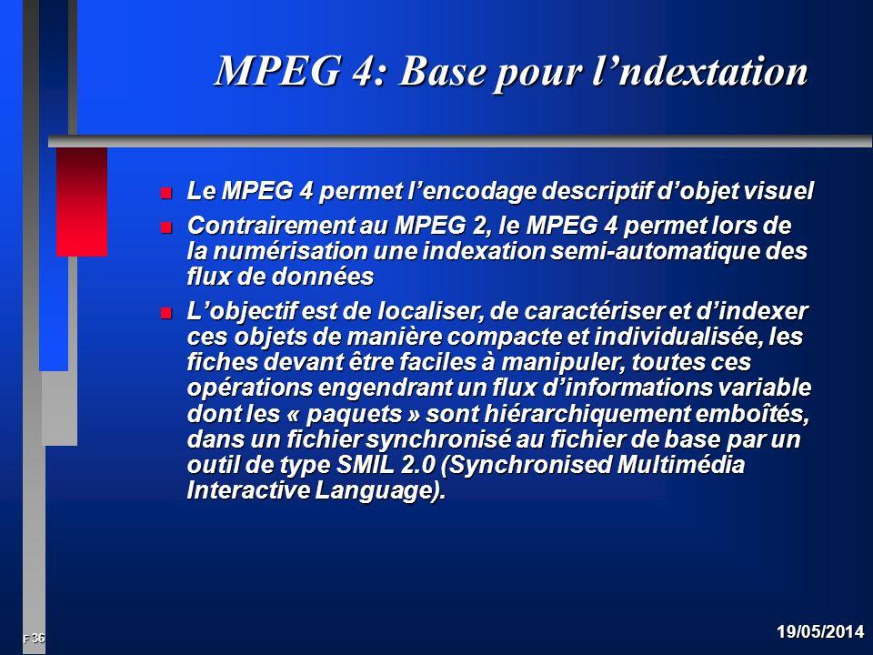 36 F 19/05/2014 MPEG 4: Base pour lndextation n Le MPEG 4 permet lencodage descriptif dobjet visuel n Contrairement au MPEG 2, le MPEG 4 permet lors de la numérisation une indexation semi-automatique des flux de données n Lobjectif est de localiser, de caractériser et dindexer ces objets de manière compacte et individualisée, les fiches devant être faciles à manipuler, toutes ces opérations engendrant un flux dinformations variable dont les « paquets » sont hiérarchiquement emboîtés, dans un fichier synchronisé au fichier de base par un outil de type SMIL 2.0 (Synchronised Multimédia Interactive Language).