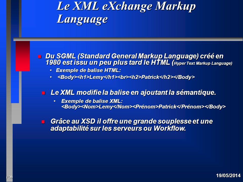 39 F 19/05/2014 Le XML eXchange Markup Language n Du SGML (Standard General Markup Language) créé en 1980 est issu un peu plus tard le HTML ( Hyper Text Markup Language) Exemple de balise HTML:Exemple de balise HTML: Lemy Patrick Lemy Patrick n Le XML modifie la balise en ajoutant la sémantique.