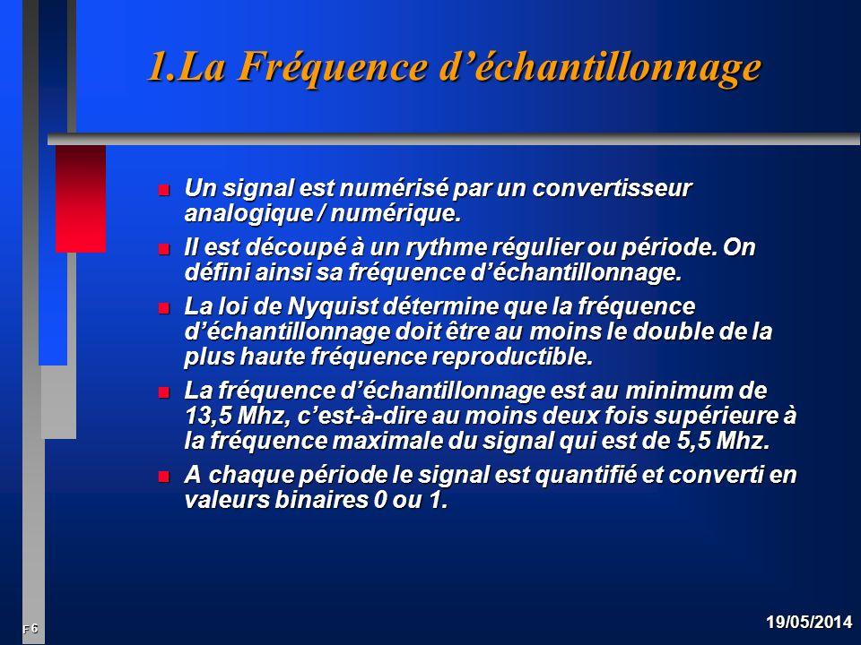 6 F 19/05/2014 1.La Fréquence déchantillonnage n Un signal est numérisé par un convertisseur analogique / numérique.