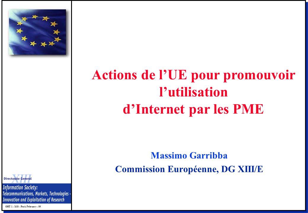 OHT 1 - MG - Paris February - 99 Massimo Garribba Commission Européenne, DG XIII/E Actions de lUE pour promouvoir lutilisation dInternet par les PME