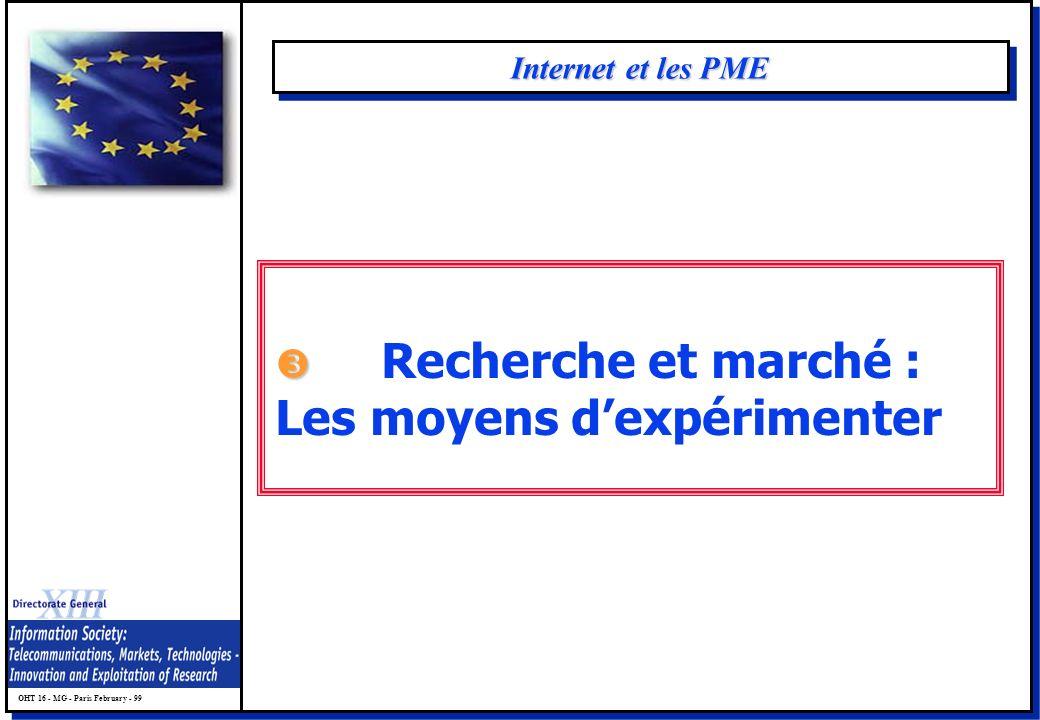 OHT 16 - MG - Paris February - 99 Internet et les PME Recherche et marché : Les moyens dexpérimenter