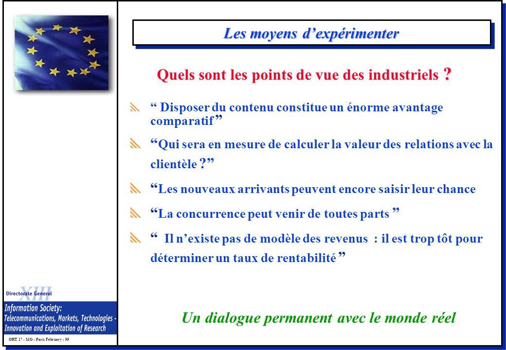 OHT 17 - MG - Paris February - 99 Les moyens dexpérimenter Disposer du contenu constitue un énorme avantage comparatif Qui sera en mesure de calculer la valeur des relations avec la clientèle .