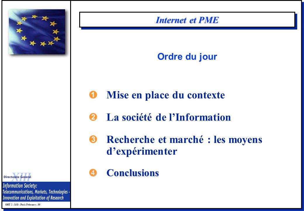 OHT 2 - MG - Paris February - 99 Internet et PME ÊMise en place du contexte ËLa société de lInformation ÌRecherche et marché : les moyens dexpérimenter ÍConclusions Ordre du jour