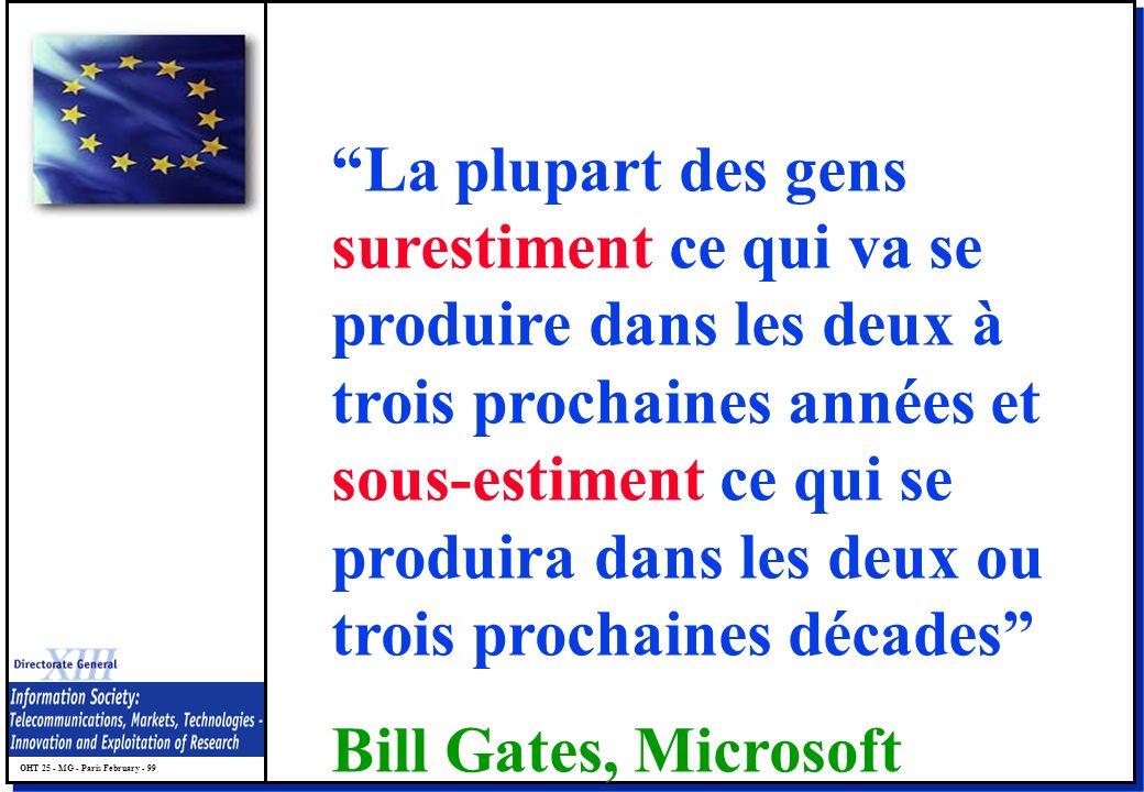 OHT 25 - MG - Paris February - 99 La plupart des gens surestiment ce qui va se produire dans les deux à trois prochaines années et sous-estiment ce qui se produira dans les deux ou trois prochaines décades Bill Gates, Microsoft