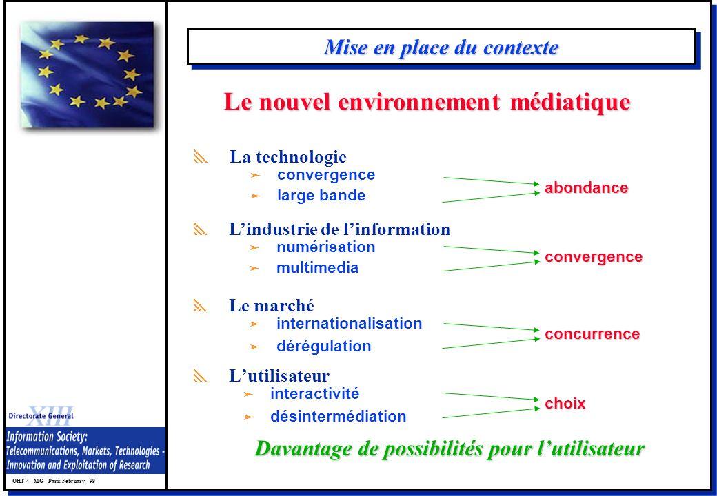 OHT 4 - MG - Paris February - 99 Mise en place du contexte Lutilisateur ä interactivité ä désintermédiation Davantage de possibilités pour lutilisateu