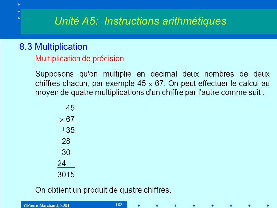 ©Pierre Marchand, 2001 182 8.3 Multiplication Multiplication de précision Supposons qu on multiplie en décimal deux nombres de deux chiffres chacun, par exemple 45 67.