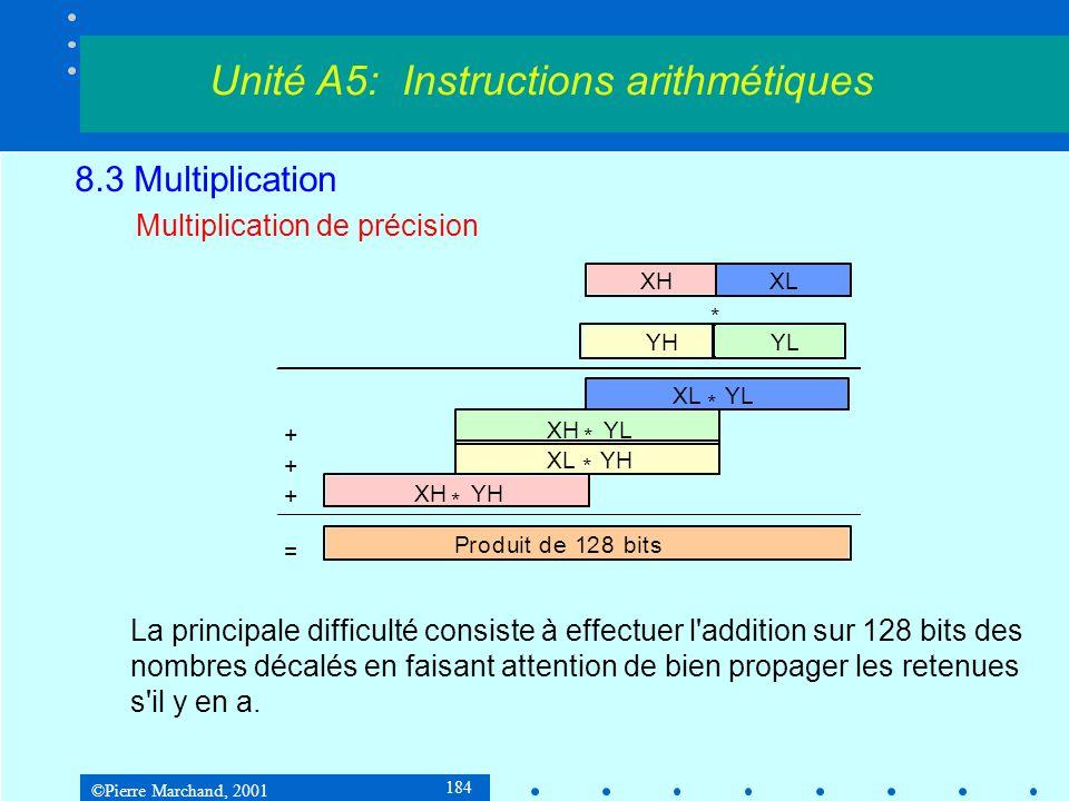 ©Pierre Marchand, 2001 184 8.3 Multiplication Multiplication de précision Unité A5: Instructions arithmétiques Produit de 128 bits + + + = XHXL YHYL XL * YL XH * YL XL * YH XH * YH * La principale difficulté consiste à effectuer l addition sur 128 bits des nombres décalés en faisant attention de bien propager les retenues s il y en a.
