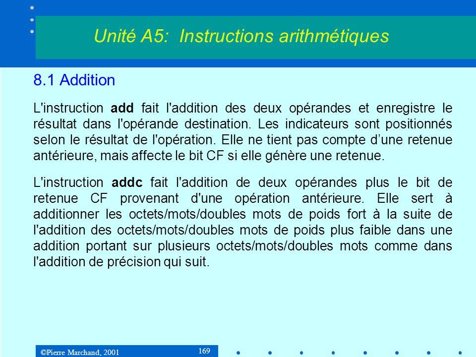 ©Pierre Marchand, 2001 169 8.1 Addition L'instruction add fait l'addition des deux opérandes et enregistre le résultat dans l'opérande destination. Le