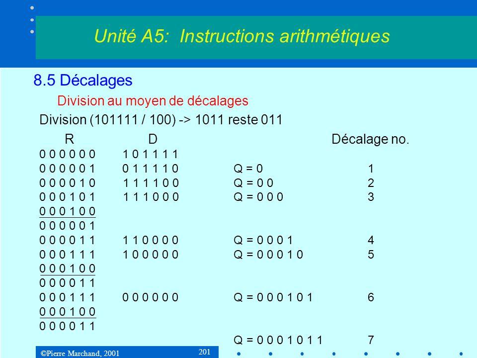 ©Pierre Marchand, 2001 201 8.5 Décalages Division au moyen de décalages Division (101111 / 100) -> 1011 reste 011 R DDécalage no.