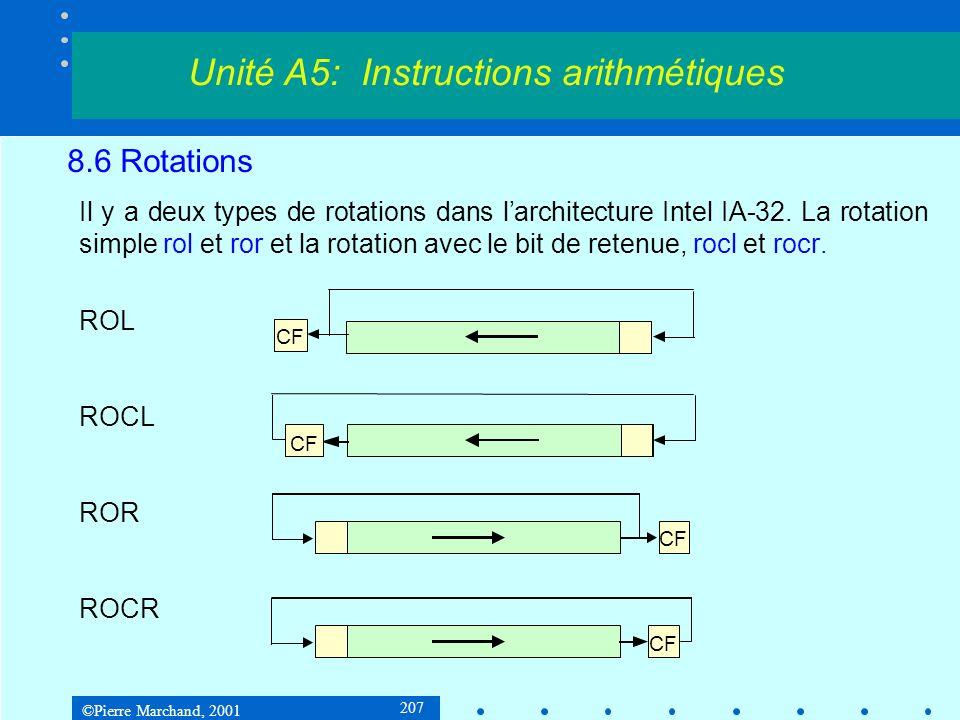 ©Pierre Marchand, 2001 207 8.6 Rotations Il y a deux types de rotations dans larchitecture Intel IA-32. La rotation simple rol et ror et la rotation a