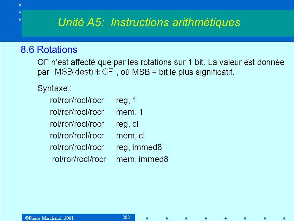 ©Pierre Marchand, 2001 208 8.6 Rotations OF nest affecté que par les rotations sur 1 bit. La valeur est donnée par, où MSB = bit le plus significatif.