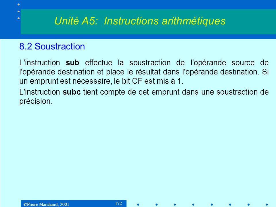 ©Pierre Marchand, 2001 172 8.2 Soustraction L instruction sub effectue la soustraction de l opérande source de l opérande destination et place le résultat dans l opérande destination.