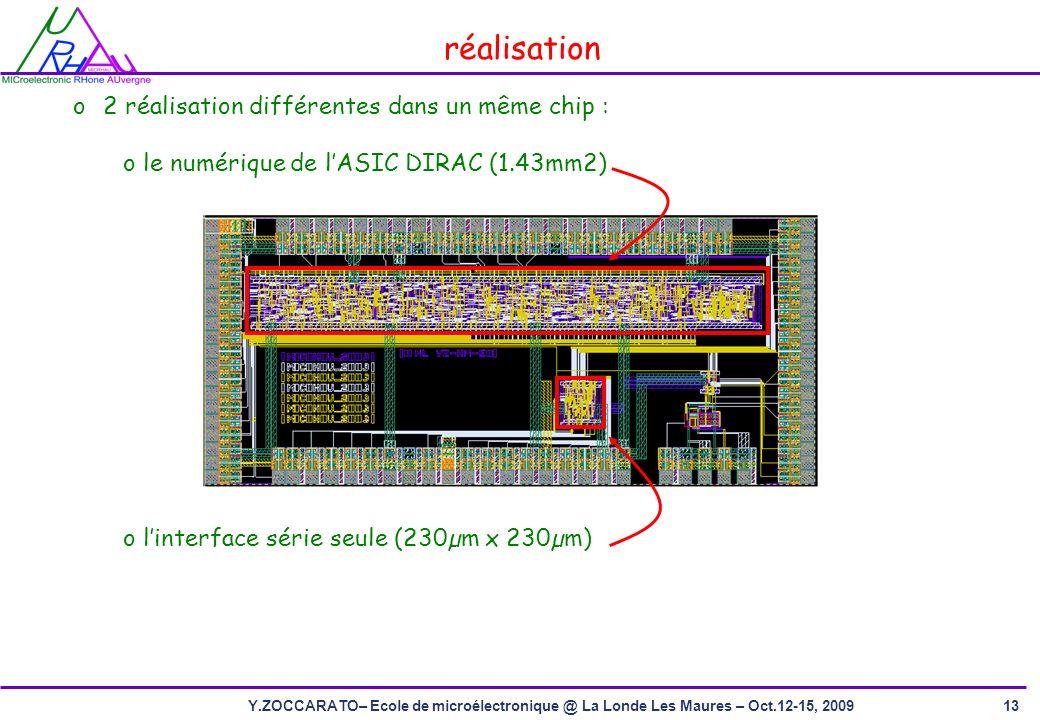 13Y.ZOCCARATO– Ecole de microélectronique @ La Londe Les Maures – Oct.12-15, 2009 réalisation o2 réalisation différentes dans un même chip : o le numérique de lASIC DIRAC (1.43mm2) o linterface série seule (230µm x 230µm)