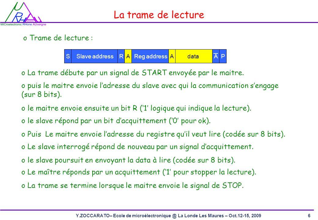 6Y.ZOCCARATO– Ecole de microélectronique @ La Londe Les Maures – Oct.12-15, 2009 o La trame débute par un signal de START envoyée par le maitre.